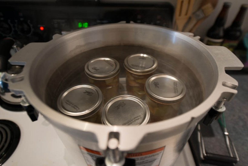 Here's the pressure canner with the pears and apples in it. We just sealed those with a water bath as opposed to pressure, like was necessary with the broth.