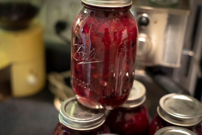 Pie filling. Let's not think about how many dollars of blueberries are in that jar.