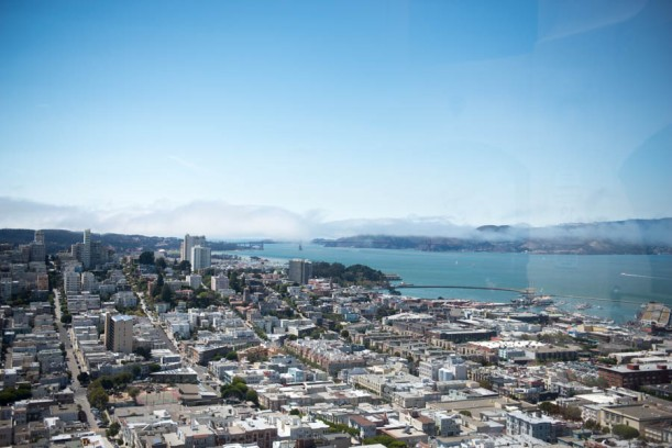 View from Coit tower, The Golden Gate Bridge is over there shrouded in clouds.