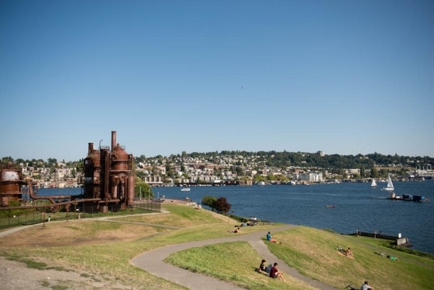 Gas works park. Without using the internet we deduced that the only way a prime piece of real estate like this wasn't sold to contractors was that it's a brown site. I'm still refusing to use the internet to look that up.