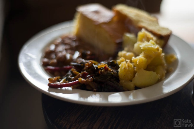 My feast of beet greens, cornbread, roasted cushaw, and pinto beans.