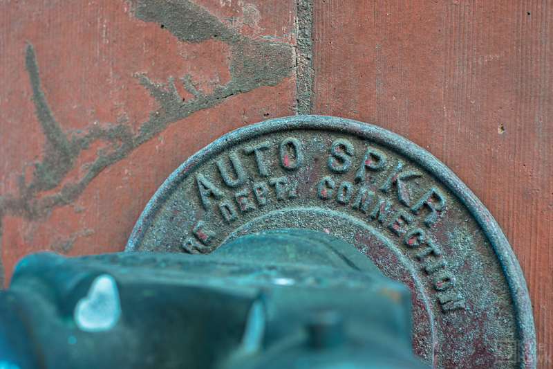 Fire department water spigot with a patina