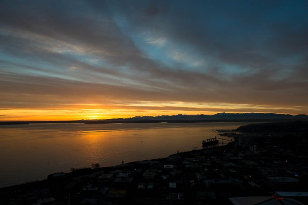 Seattle sunset over Eliot Bay from the Space Needle
