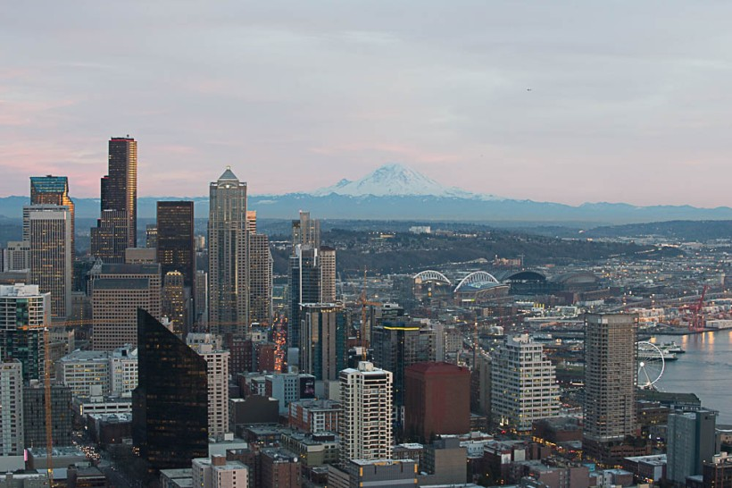 Downtown with Mt. Rainier.