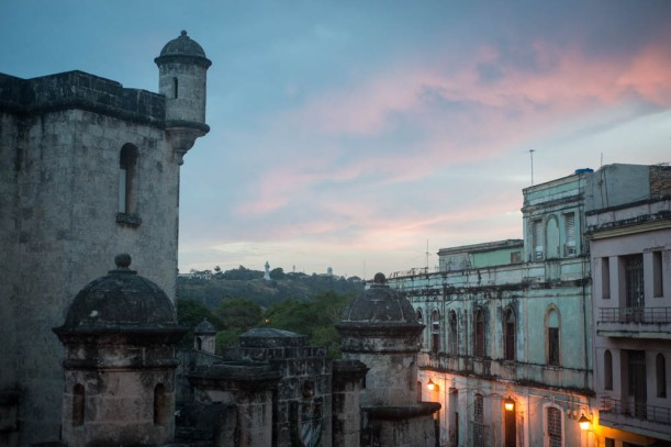 Havana at sunrise. To the left is what I took to be police headquarters. There was something that looked like a shower curtain in one of the windows. This provoked much speculation on our part.