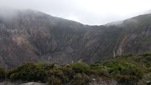 Those are mostly clouds with a little bit of some. If I could have approached that edge, I could have seen a lake below in the center of the crater completely devoid of life. This is the active crater at Irazu.