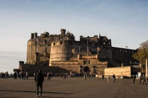 Edinburgh Castle. This area was called the promenade. That junk was built in in the middle ages.