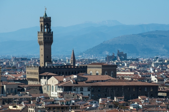 That's the Palazzo Vecchio, the Uffizi is there too, but not as recognizable.