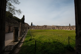 This was the training center for the gladiators. They were mostly slaves that had been taken on Rome's many conquests.
