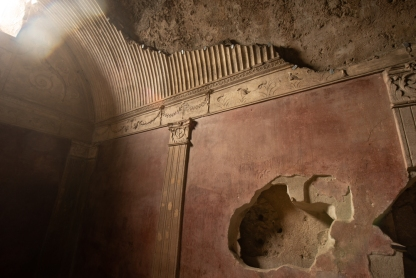 Some of the plaster decoration is still visible in the women's bathhouse.