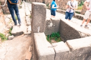 Public water fountain. Weathly people in Pompeii had water comming directly into their homes. The poors would come to these.